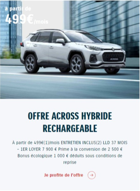 OFFRE ACROSS HYBRIDE RECHARGEABLE